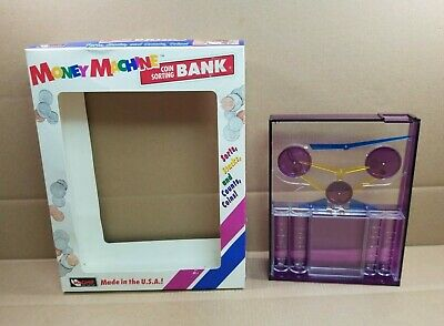 Vintage 90s Magnif Money Machine Coin Sorting Bank Purple With Bill Slot 1998