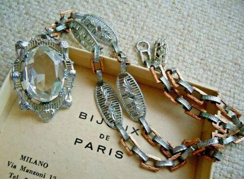 Antique Deco Fine Crystal Rhodium Pl Rose Gold Fill Filigree Lavalier Necklace