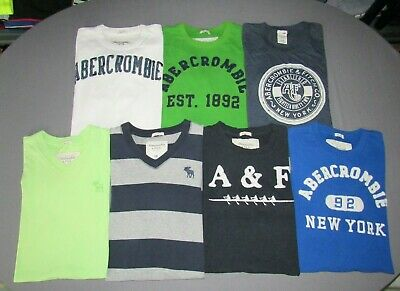 Lot of 7~ Abercrombie & Fitch Short Sleeved Graphic Logo T-Shirts Men's XXL