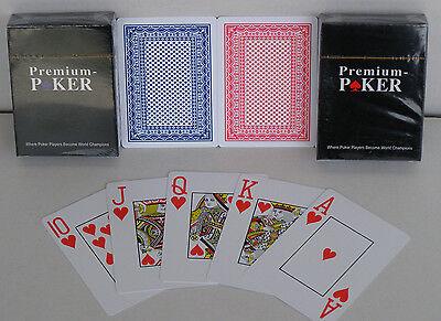 2 x Wasserfeste Premium Poker Karten Spiel Großer Index geriffelt 100% Plastik