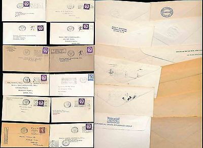 GB PERFINS 12 ITEMS 1958-66 PRINTED ENVS + PROVING COMPANY NAMES...QE2 WILDINGS