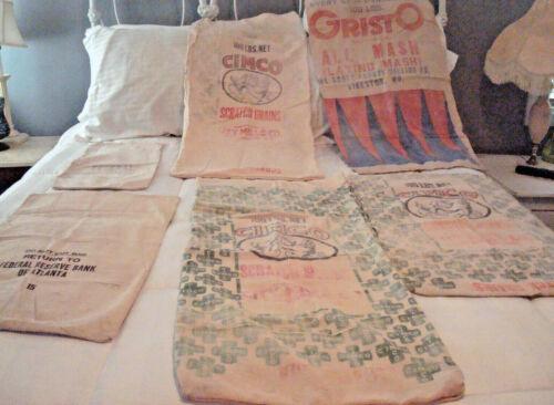 Vintage Burlap Bags Set of 6