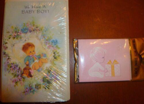 Vintage Hallmark Baby Girl Gift Tags+ Laurel Baby Boy Birth Announcements Sealed