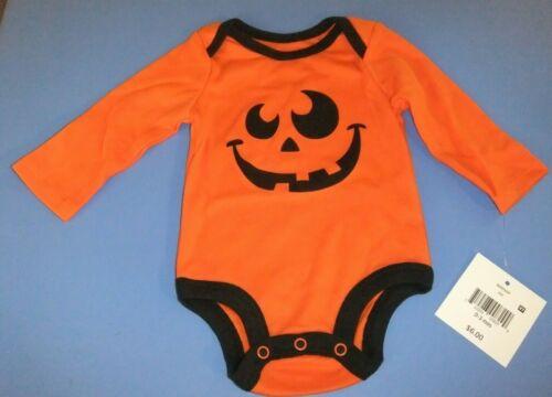 NWT Infant Boy/Girl 0-3M 3-6M HALLOWEEN Bodysuit Long Sleeve Orange Pumpkin Face