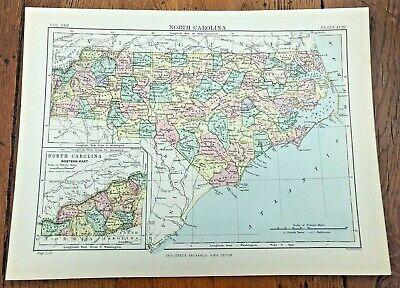 circa 1880s map of north carolina !  ( adam & charles black )