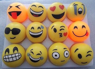12 Flashing Emoji Light Up Rubber Balls For Dark Dens etc, 5.5 Cms ~ Sensory ASD - Light Up Rubber Balls