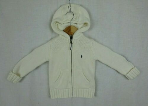 Ralph Lauren Ivory !00% Cotton Knit Hooded Sweater Jacket ~ Toddler Size 4/4T