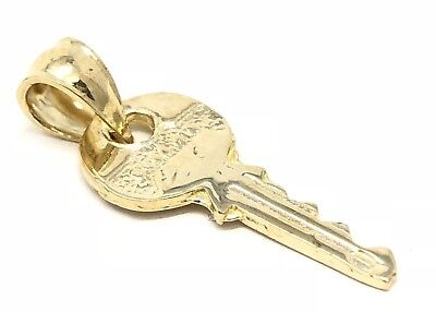 14k Yellow Gold Solid Key Charm Pendant 1.1grams