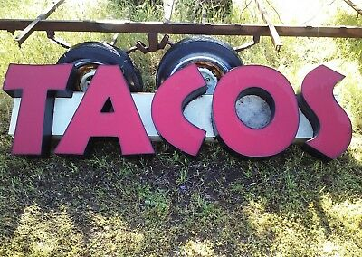 Taco Sign 7 L X 2 H.. Neon Light Powers This Sign.. Cheap To Operate