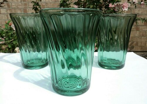 "JEANNETTE 9 oz ULTRAMARINE SWIRL 4 1/4"" SET OF 4 FLAT DEPRESSION GLASS TUMBLERS"