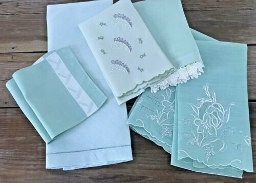 7 Lot Vintage Mint Green Linen Guest Hand Fingertip Towels Irish Lace Embroidery