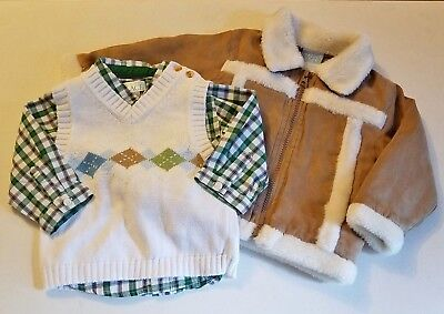 Boys CHILDREN'S PLACE plaid dress shirt vest 12M brown jacket green outfit white