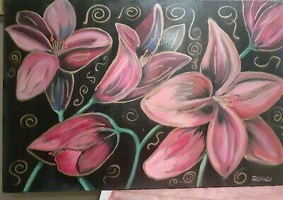 Cuadro Pintado a Mano Óleo sobre Lienzo Flores Moderno Rosa 60x90 con...