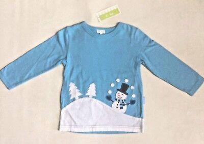 NEW Le Top Baby Boys Shirt Holiday Christmas Snowman Blue Cotton Sz 12M,18M,2T