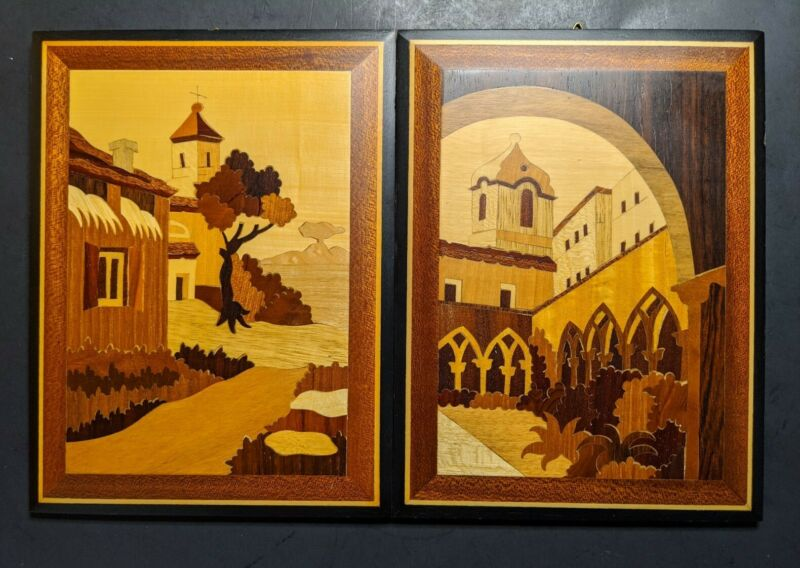 2 Vintage Wood Marquetry Inlay Pictures Italy