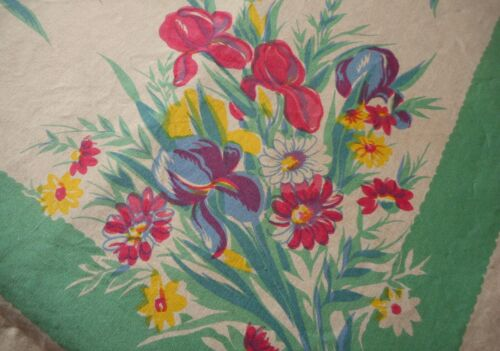 Vintage WILENDUR IRIS Cotton Fabric Table Cloth~ Stunning Magenta Jade Green