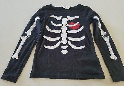 Boys Girls H&M Skeleton Bones Black Halloween Long Sleeved Shirt 6 7 8 6-8Y