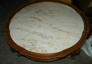 Light-Mahogany-Carved-Round-Marble-Top-Coffee-Table-CT49