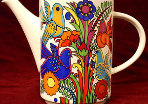 Porcelain-70s-Flower-Child-Hippie-Style-Coffee-Tea-Pot-Villeroy-Boch-Luxembourg