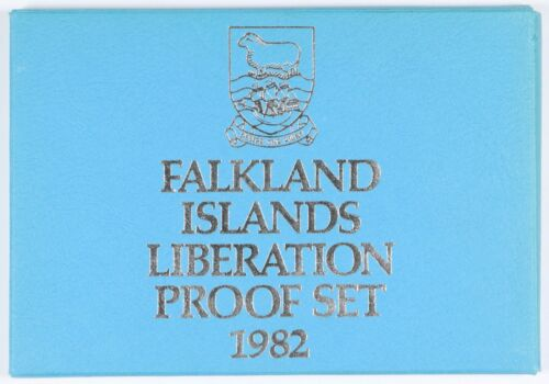 1982 Falkland Islands Proof Set 8 Coin with Silver Crown