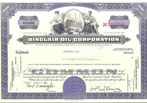 Stock certificate Consolidated Oil 1960s Sinclair Oil Corp