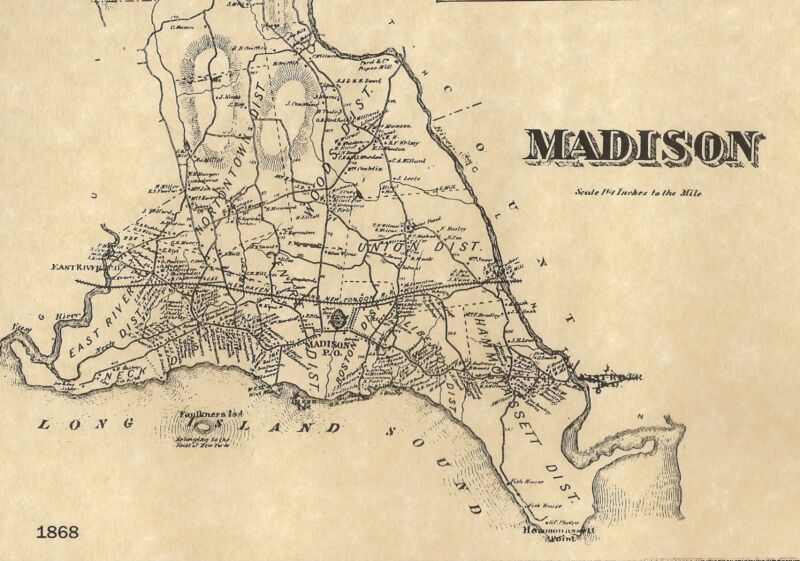 Madison Rockland Hammonasset State Park CT 1868 Map with Homeowners Names Shown
