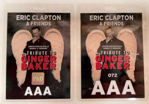 ERIC CLAPTON / GINGER BAKER TRIBUTE BACKSTAGE PASS AAA