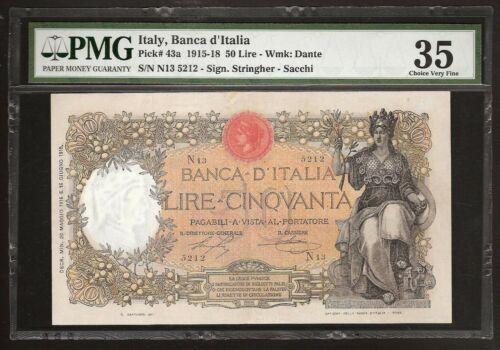 ITALY 50 LIRE 1916 P:43a VF