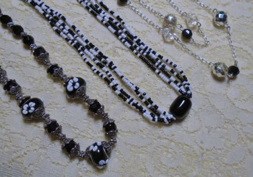 ASSORTED BLACK GLASS BEADED SILVER TONE CHAIN NECKLACE LOT