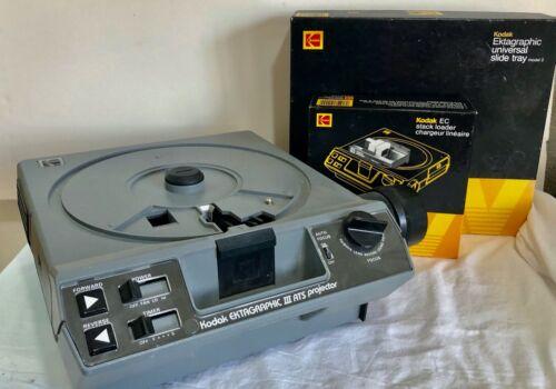 Kodak Ektagraphic III ATS Slide Projector w/ Lens Slide Tray Stack Loader     JB