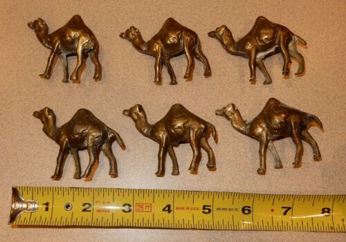 Lot of 6 Small Brass Camels Figurines