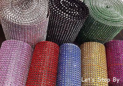 Diamond Rhinestone Ribbon Mesh Wrap Wedding Party Floral Decorations Supplies  - Plastic Diamonds