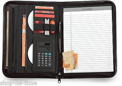 Gemline Vanguard Executive Black Leather Zippered Calculator Padfolio - New