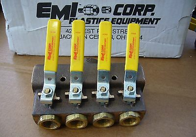 "EMI 4-Port Bronze Water Manifold VML-041-F16 Three 1"" NPT In & Four 1/2"" NPT Out"
