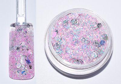 79,50€/100g Dose Glitter Pailletten Pulver Rosa Silber 2g Basteln Glitzer NEU