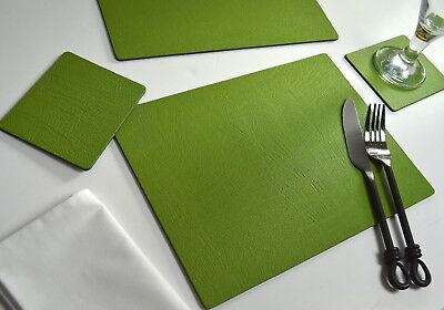 Set of 4 SAGE GREEN Bonded Leather PLACEMATS and 4 COASTERS, 8-Piece, MADE IN UK