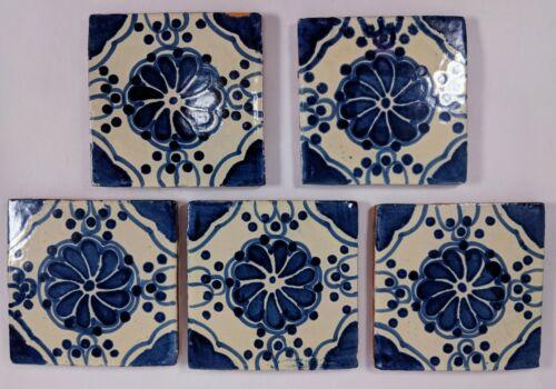 Terracotta Blue and White Glazed Tiles Lot of 5