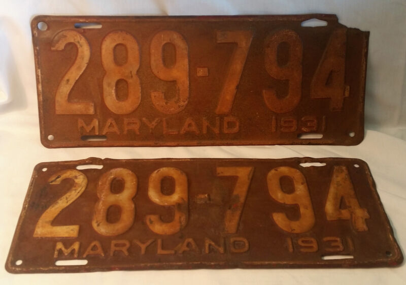 Antique 1931 Maryland Matched Set Pair License Plates 289-794