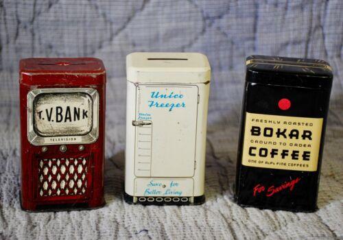 3 VINTAGE ADVERTISING TIN BANKS TV + FREEZER + COFFEE !! MID CENTURY SEE PICS!!