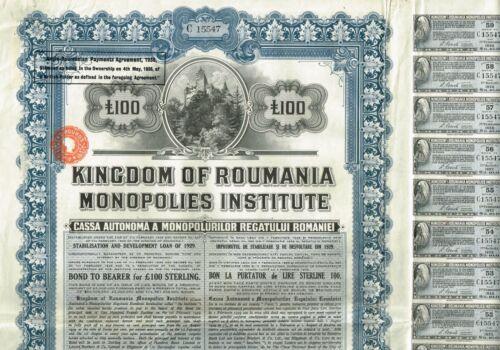 ROMANIA KINGDOM  stock certificate/bond 100 POUNDS STERLING 1929