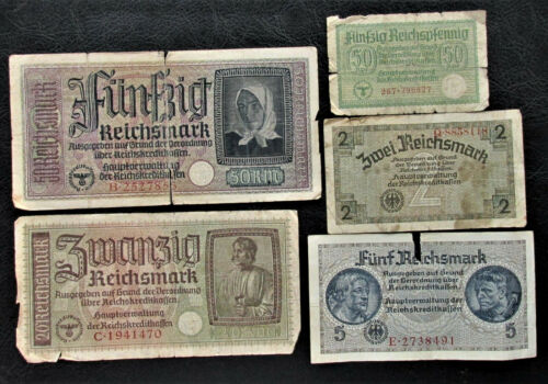 Lot of 50,5,20,2,0.5 WW2 REICHSMARK NAZI GERMANY CURRENCY GERMAN BANKNOTES