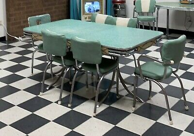 Vintage 1950's Retro Teal, Ivory, & Chrome Kitchen Table and 6 Chairs- Classic!