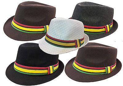 Cuban Hat (RASTA REGGAE CUBAN STYLE FEDORA TRILBY GANGSTER WOOL FEDORA BUCKET HAT MEN CAP )