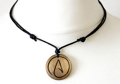 Atheist Necklace Symbol Pendant Gift Wood Choker Atheism Mens Ladies Jewellery