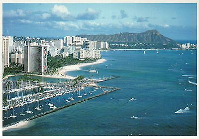 Waikiki Beach Honolulu Hawaii, Ala Wai Yacht Harbor & Diamond Head HI - Postcard