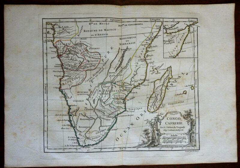 South Africa Congo Zanzibar Madagascar Horn Africa 1780 Vaugondy decorative map