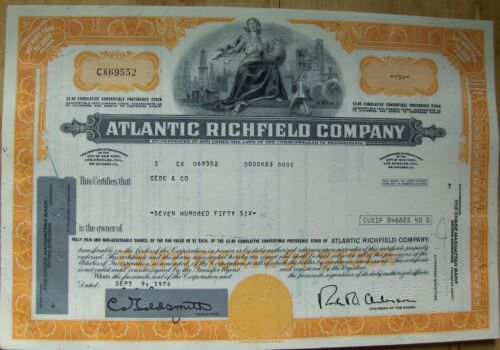 Atlantic Refining (now Richfield) Comp. stock certificate Payee Cede & Co 1974