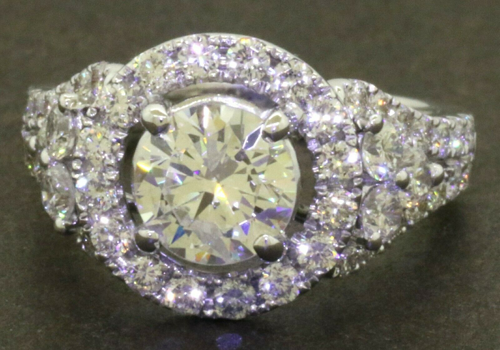 18K WG 2.35CTW diamond halo wedding/engagement ring w/ 1.11CT ctr. size 4.75