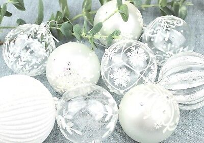 GISELA GRAHAM CHRISTMAS IRID WHITE CLEAR SILVER GLITTER GLASS BAUBLE DECORATION](Gisela Graham Halloween Decorations)