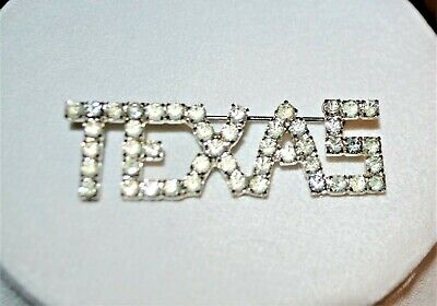 Vintage Rhinestone Texas Pin Brooch Womens Jewelry Accessories State Jewelry